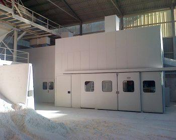 Cabina di insonorizzazione per mulino triturazione sabbie silicee