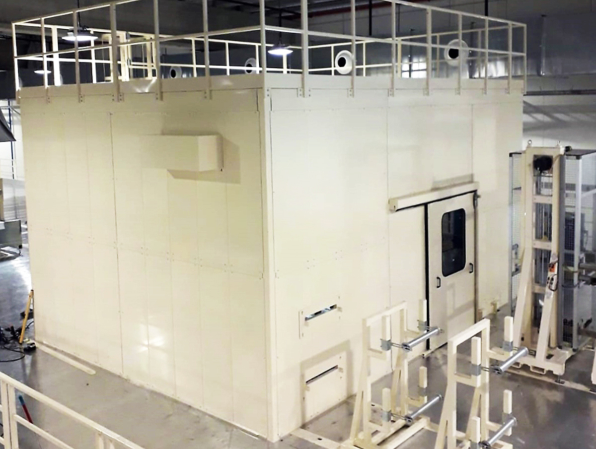 Soundproof cabin for non woven intimate hygiene mill