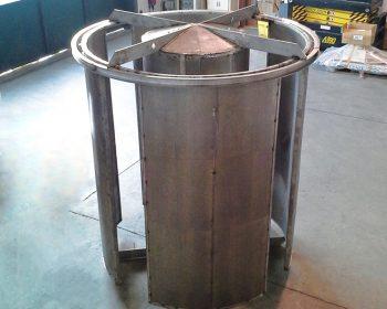 Silenziatore reattivo con involucro esterno biassorbente per inserimento  in condotto di scarico aria di azienda alimentare