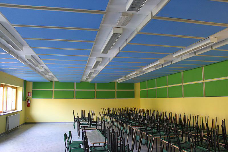 Sound-absorbing treatment for a school canteen